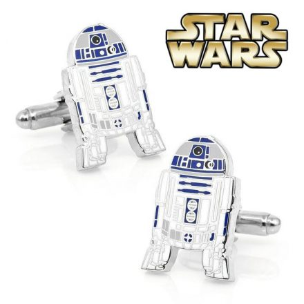 Metallic cufflinks of R2D2 Star Wars with the logo of the movie